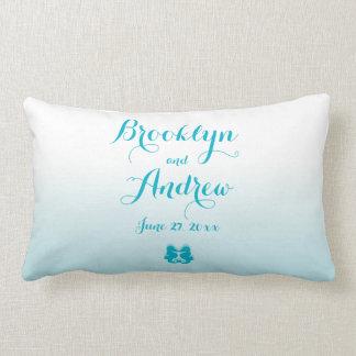 Monogrammed White Blue Seahorse Wedding Pillows