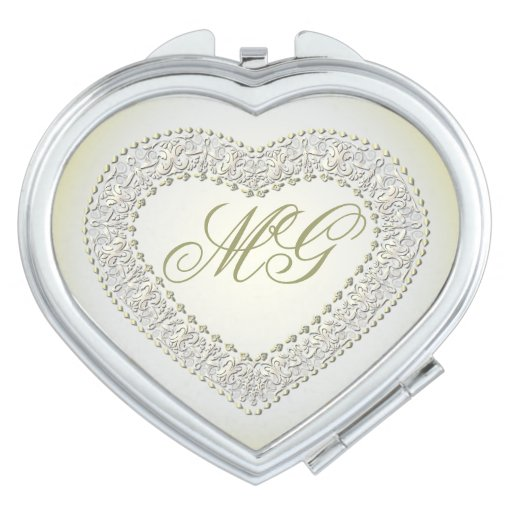 Monogrammed White Gold Heart Compact Mirror Mirrors For