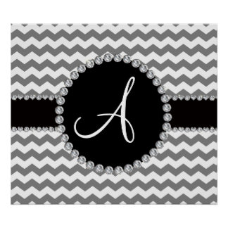Monogrammed white grey chevrons posters