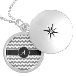 Monogrammed white grey chevrons round locket necklace