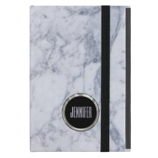 Monogrammed White Marble Stone Pattern & Silver Cover For iPad Mini