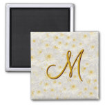 Monogrammed White Mums 2 Inch Square Magnet