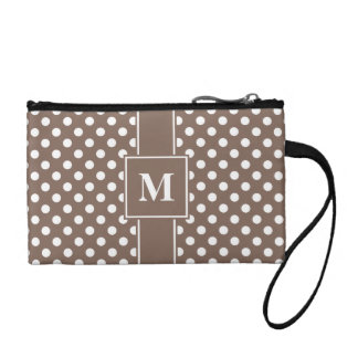 Monogrammed White on Taupe Polka Dots Coin Purse