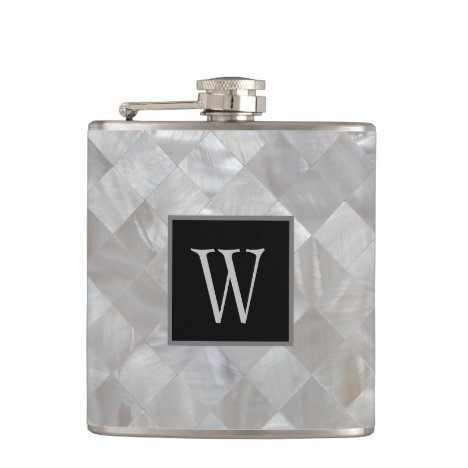 Monogrammed White Pearl Flask