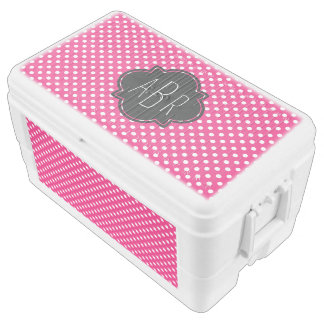 Monogrammed White Polka Dots on Bright Raspberry Cooler