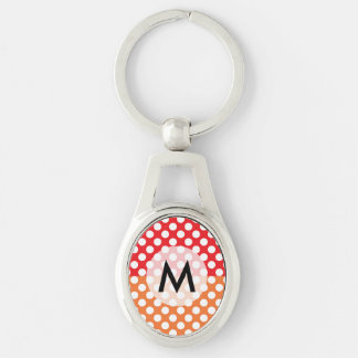 Monogrammed White, Red and Orange Polka Dot Keychain