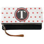 Monogrammed White Red Polka Dots Clutch