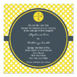 Monogrammed White, Yellow and Charcoal Polka Dot 5.25x5.25 Square Paper Invitation Card
