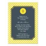 Monogrammed White, Yellow and Charcoal Polka Dot 5x7 Paper Invitation Card
