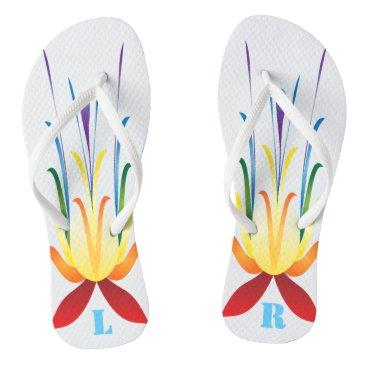 Beach Themed Monogrammed Wild rainbow flower Design Flip Flops