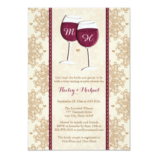 Monogrammed Wine Glasses Couples Wedding Shower Card