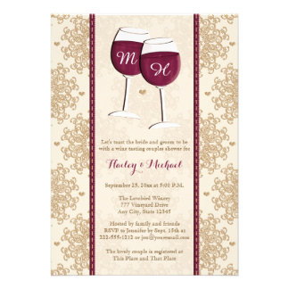 Monogrammed Wine Glasses Couples Wedding Shower Personalized Announcement