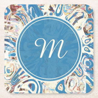 Monogrammed Winter Blue & White Abstract Square Paper Coaster