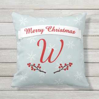 Monogrammed Winterberry Season's Greetings Throw Pillow