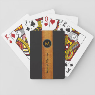 monogrammed wood color stripe on black playing cards