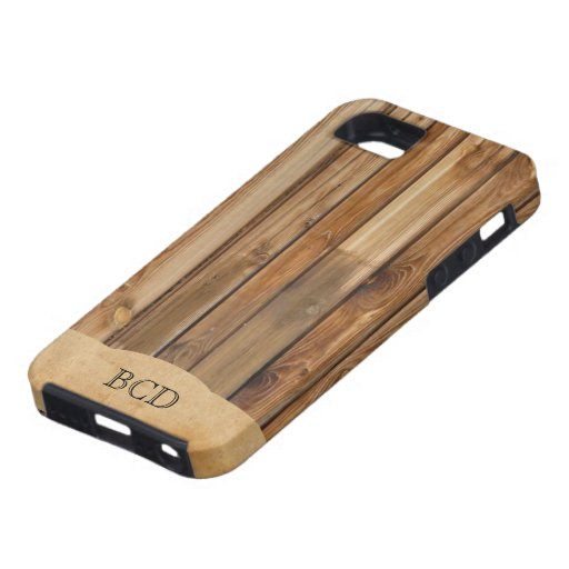Monogrammed Wood Parchment (Faux) Rustic Country iPhone 5/5S Cover