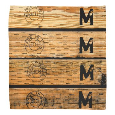 """USA Themed Monogrammed Wood Planks Stamped w """"Made in USA"""" Bandana"""