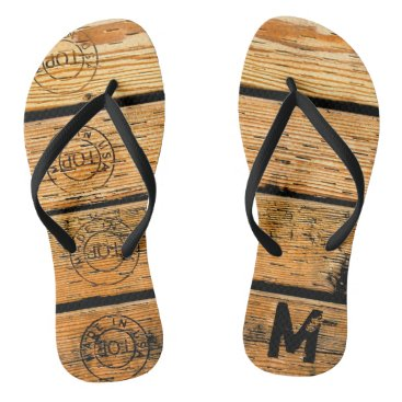 """USA Themed Monogrammed Wood Planks Stamped w """"Made in USA"""" Flip Flops"""