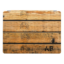 "Monogrammed Wood Planks Stamped w ""Made in USA"" iPad Pro Cover"