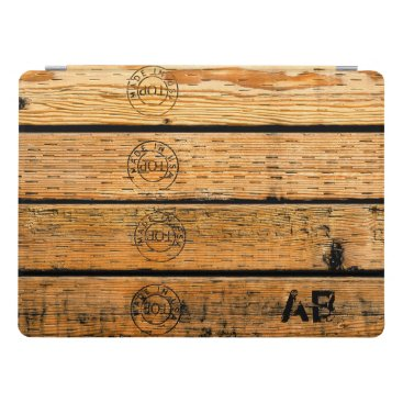 """USA Themed Monogrammed Wood Planks Stamped w """"Made in USA"""" iPad Pro Cover"""