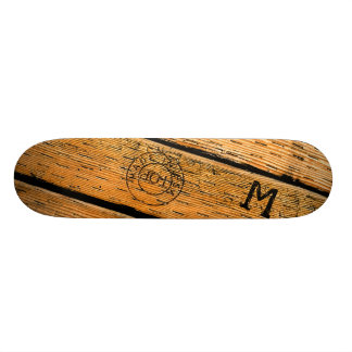 "Monogrammed Wood Planks Stamped w ""Made in USA"" Skateboard"