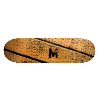 "Monogrammed Wood Planks Stamped w ""Made in USA"" Skateboard Deck"