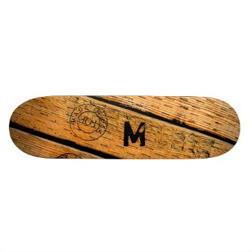"""USA Themed Monogrammed Wood Planks Stamped w """"Made in USA"""" Skateboard Deck"""