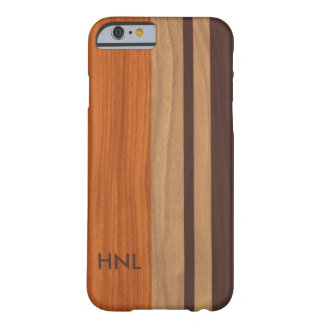 Monogrammed Wood Stripes Pattern Barely There iPhone 6 Case