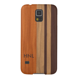 Monogrammed Wood Stripes Pattern Galaxy S5 Cover