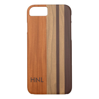 Monogrammed Wood Stripes Pattern iPhone 8/7 Case