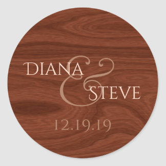Monogrammed Wood Wedding Favor | Elegant Mahogany Classic Round Sticker