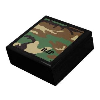 Monogrammed Woodland Camo ~ Jewelry Trinket Boxes