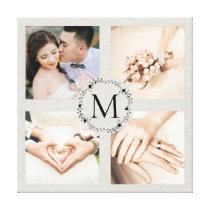 Monogrammed wreath collage with 4 photos canvas print