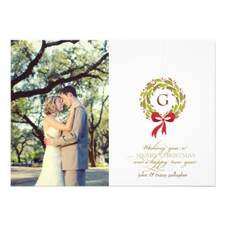Monogrammed Wreath - Holiday Photo Card Custom Invite