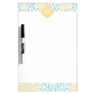 Monogrammed Yellow Aqua Floral Damask Pattern Dry Erase Board