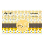 Monogrammed Yellow Argyle Business Card