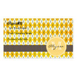 Monogrammed Yellow Argyle Business Card Template