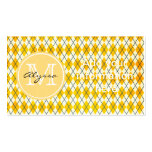 Monogrammed Yellow Argyle Business Card Templates