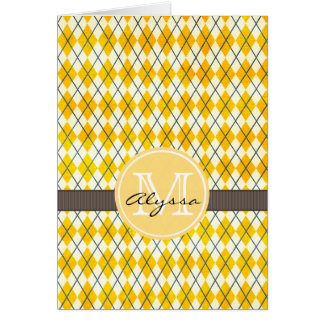 Monogrammed Yellow Argyle Card