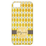 Monogrammed Yellow Argyle Case For iPhone 5C