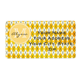 Monogrammed Yellow Argyle Label