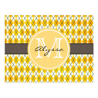 Monogrammed Yellow Argyle Postcard