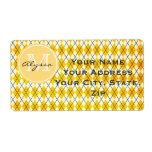 Monogrammed Yellow Argyle Shipping Labels