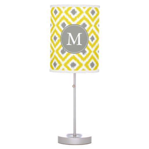 Monogrammed Yellow Gray Diamonds Ikat Pattern Desk Lamp