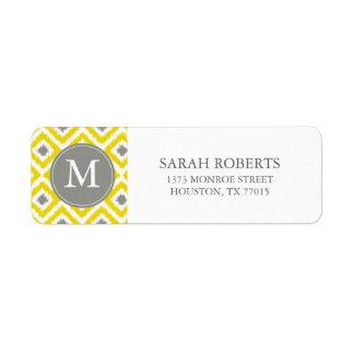 Monogrammed Yellow Gray Diamonds Ikat Pattern Label