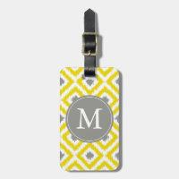 Monogrammed Yellow Gray Diamonds Ikat Pattern Bag Tag