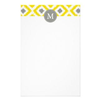 Monogrammed Yellow Gray Diamonds Ikat Pattern Personalized Stationery