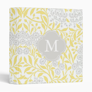 Monogrammed Yellow Gray Floral Damask Pattern 3 Ring Binders