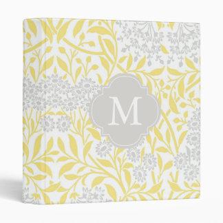 Monogrammed Yellow Gray Floral Damask Pattern Binder