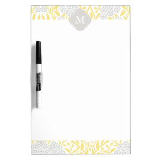 Monogrammed Yellow Gray Floral Damask Pattern Dry-Erase Board